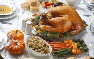 Thanksgiving meal with turkey, stuffing and green beans