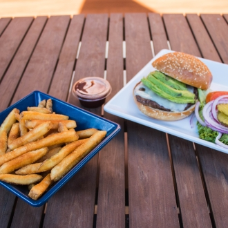 Burgers and fries on a plate