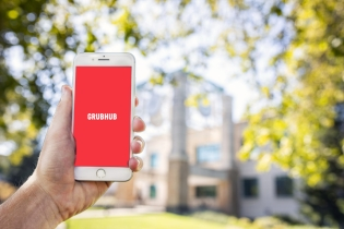 Phone with Grubhub app loaded for mobile ordering